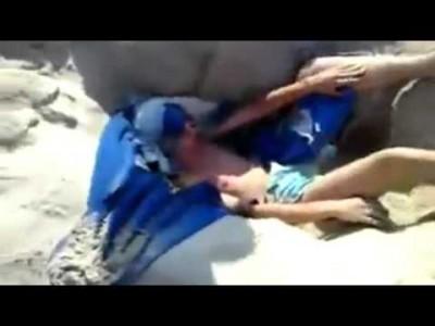 Witziger Strand Handtuch Loch Streich
